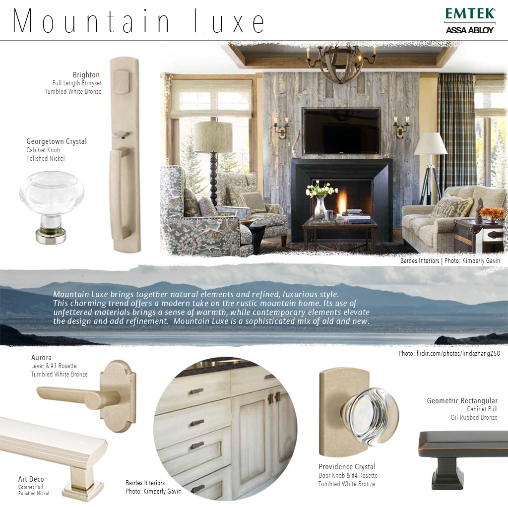 Mountain Luxe Style with Tumbled White Bronze and Oil Rubbed Bronze finishes.
