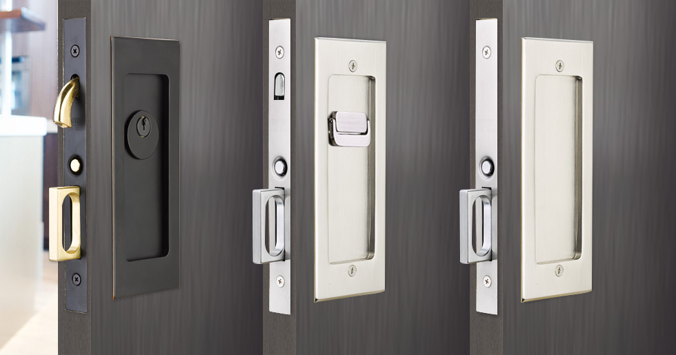Modern Rectangular Pocket Door Mortise Lock Emtek