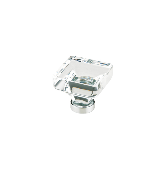 Lido Crystal Cabinet Knob With Brass Base In Polished Chrome Finish