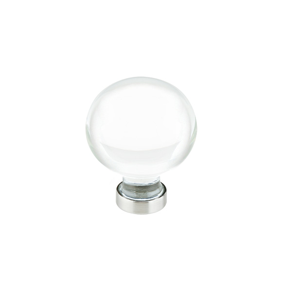 bristol crystal cabinet knob with brass base in satin nickel finish