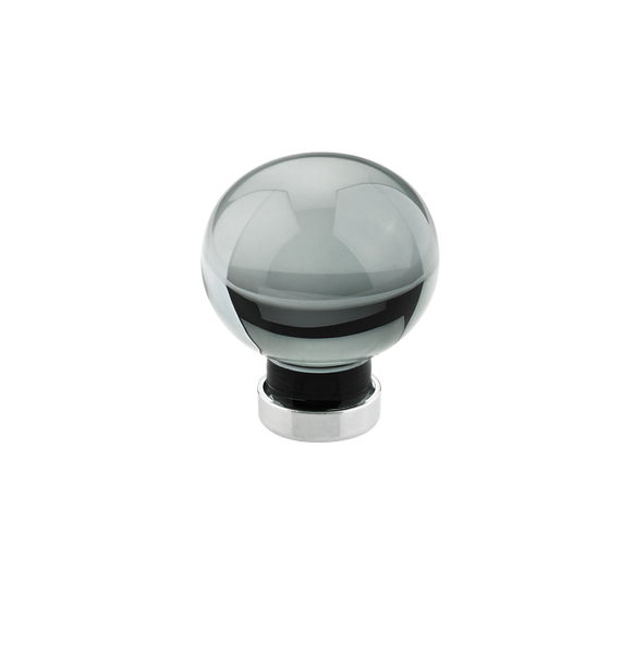 smoke bristol crystal cabinet knob with brass base in satin nickel finish
