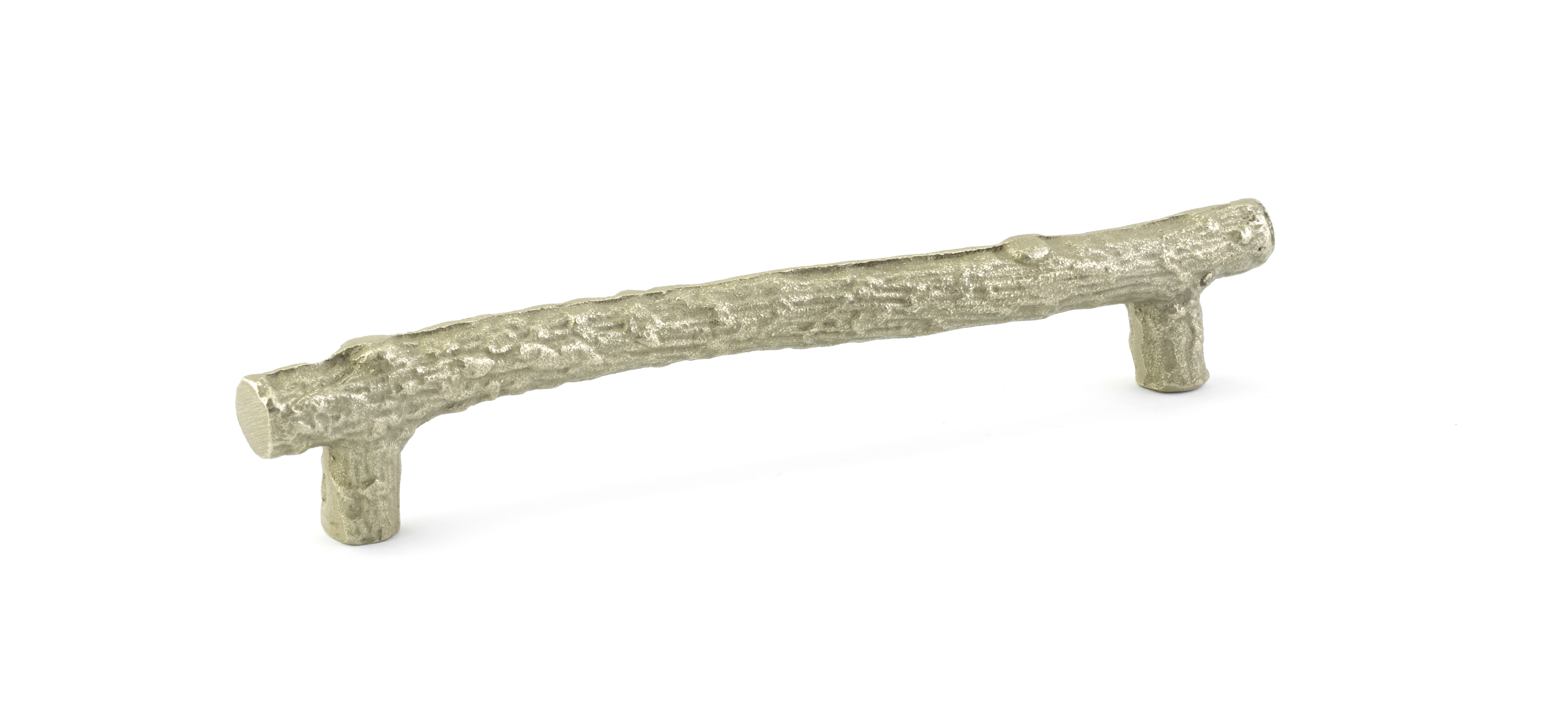 Sandcast Bronze Twig Cabinet Pull In Tumbled White Bronze Finish