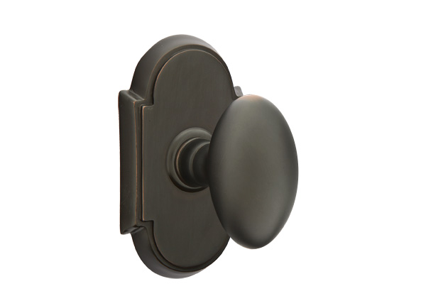 Brass Egg Knob With #8 Rosette In Oil Rubbed Bronze Finish