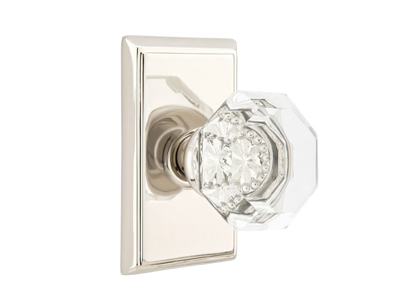Old Town Clear Crystal Knob With Rectangular Rosette In Polished Nickel  Finish