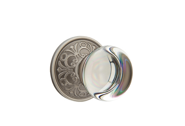 providence crystal knob with lancaster rosette in pewter finish