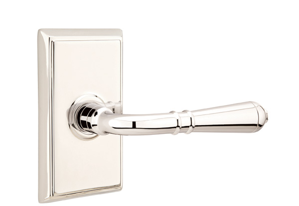 Etonnant Turino Brass Lever With Rectangular Rosette In Polished Nickel Finish