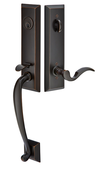 Adams Monolithic Tubular Entrance Handleset With Cortina Lever In Old Rubbed Bronze Finish